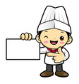 executive chef character is promoting a business vector image vector image