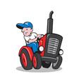Farmer Driving Vintage Tractor Cartoon vector image vector image