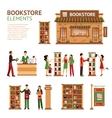 Flat Bookstore Elements Images Set vector image vector image