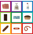 flat icon meal set of kielbasa confection sack vector image vector image