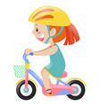 girl in blue dress riding bicycle vector image