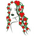 Girl with roses on hair vector image vector image