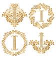 Golden letter I vintage monograms set Heraldic vector image vector image
