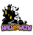 halloween house with sign 2 vector image vector image