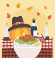 happy thanksgiving baked turkey pumpkin hat wine vector image vector image