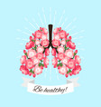 healthy blooming lungs vector image vector image