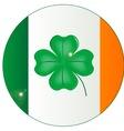 Irish Flag With Lucky Shamrock Button vector image vector image