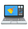 laptop with cleaning application vector image vector image