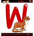 letter w for weasel cartoon vector image vector image