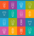light bulbs lineart minimal iconset on multicolor vector image vector image