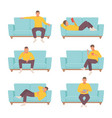 male character resting on sofa set guy in yellow vector image vector image