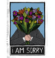man holding flowers and saying i am sorry vector image