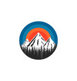 mountain logo round shape snow-capped peaks rocks vector image