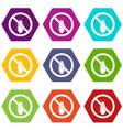 no termite sign icon set color hexahedron vector image vector image