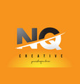 nq n q letter modern logo design with yellow vector image