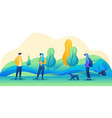 people walk in park with masks on their faces vector image