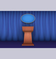 podium tribune with microphone white house vector image vector image