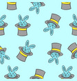 rabbit and hat circus pattern style vector image vector image