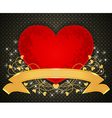 Red heart on metallic with gold ribbon pattern vector image vector image