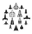 rocket icons set simple style vector image