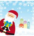 santa claus cartoon over snow landscape vector image