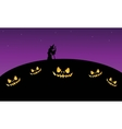 Scary halloween at night with witch vector image vector image