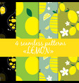seamless patterns collection with lemons vector image