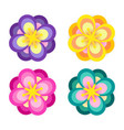 set colorful flower element decor isolated vector image