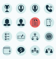 set of 16 hr icons includes cellular data money vector image vector image