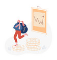 smart businesswoman carry sack with dollars on vector image vector image