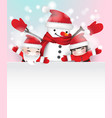 snowman and two children behind white frame vector image