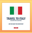 travel to italy discover and explore new vector image vector image
