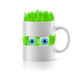 White mug of two parts with grass inside vector image vector image