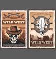 wild west skull in cowboy hat american western vector image vector image