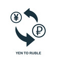 yen to ruble icon mobile app printing web site vector image vector image