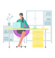 young dark-haired business woman at desk is vector image vector image