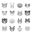 animal muzzle set icons in monochrome style big vector image vector image