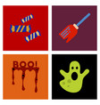 assembly flat icons halloween boo ghost candies vector image