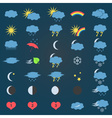 blue and yellow weather icons set eps10 vector image