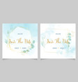 blue watercolor wedding invitation with golden vector image vector image
