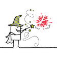 cartoon wizard with magic wand destroying vector image vector image