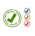 certified checkmark tick rubber stamp set design vector image