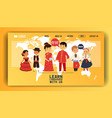 children nationalities web page kids vector image