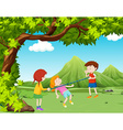 Children playing music bar in the park vector image vector image
