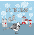 Christmas card with bird and winter little town vector | Price: 1 Credit (USD $1)