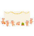 christmas pigs at the empty banner vector image