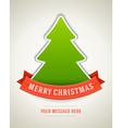 Christmas postcard green tree and ribbon backgroun vector image vector image