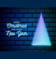 christmas tree neon sign winter holiday vector image