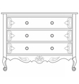 Classic commode with damask ornaments vector image vector image