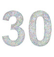Colorful sketch anniversary design - number 30 vector image